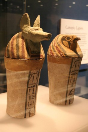 Some of the Egyptian artefacts in the 'Secrets of the Afterlife' exhibition