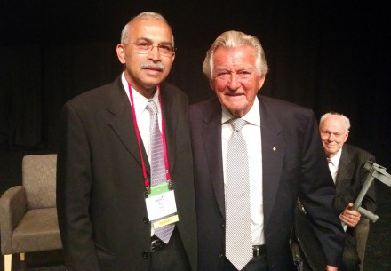 CRC CARE Managing Director and CEO, Prof Ravi Naidu, with The Hon Bob Hawke AC