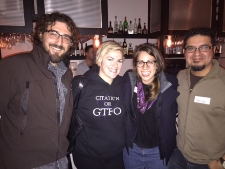 Happy punters enjoying the event - R to L George Aranda, Claire Farrugia, and SciBabe and friend.