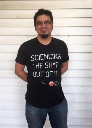 George Aranda wearing a T-shirt from the ASC online shop